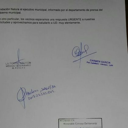 CARTA ARBOLES LA PORTA - Vecinos presentaron queja por deforestación