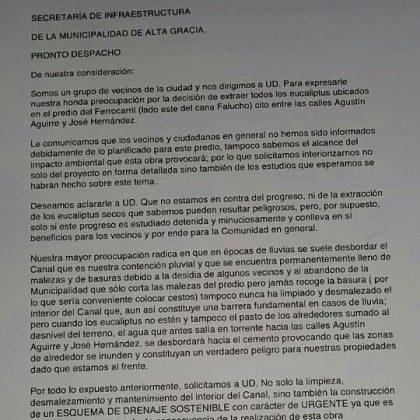 carta la porta arboles - Vecinos presentaron queja por deforestación