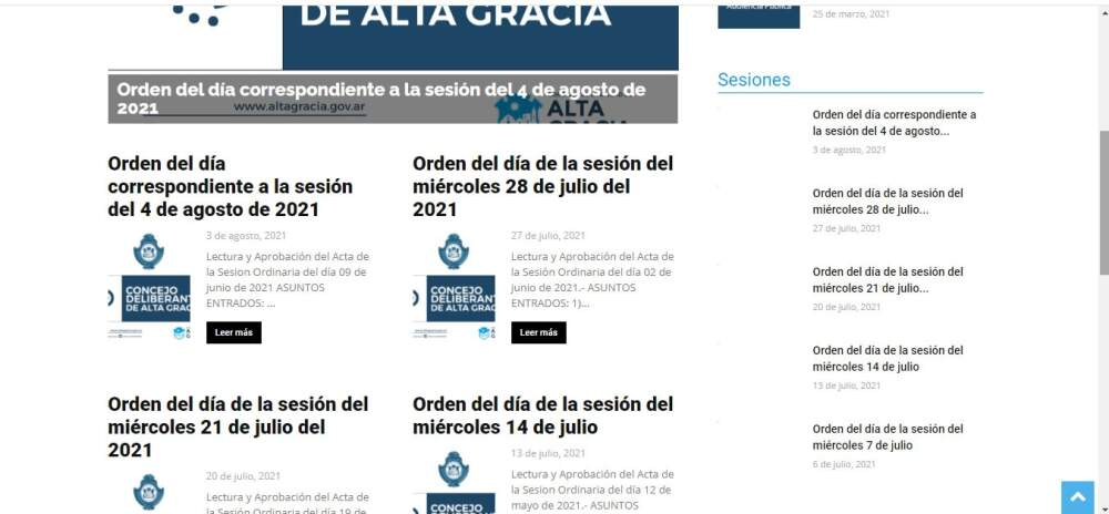 captura concejo - ¿Qué pasa con la página web del Concejo Deliberante?